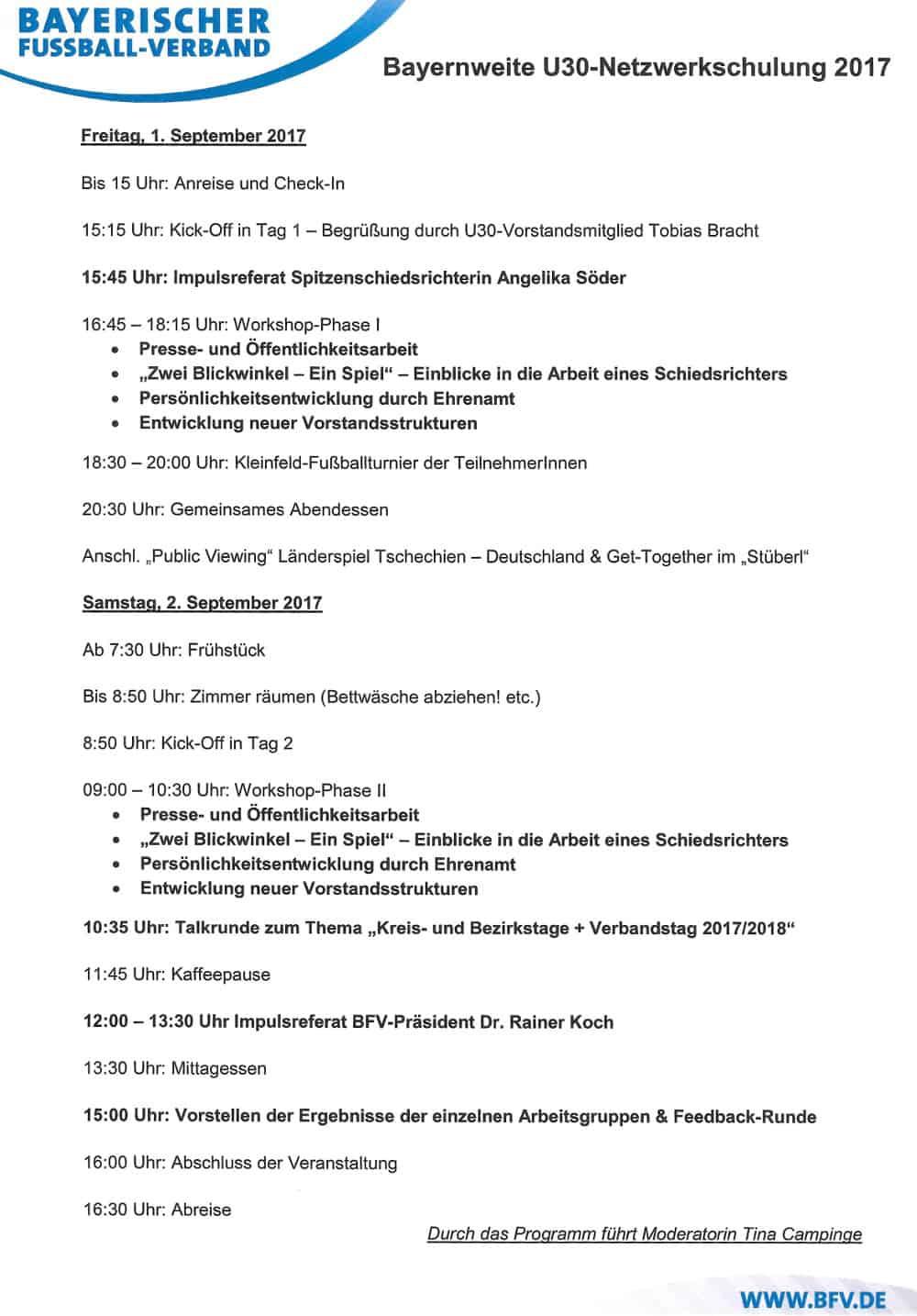 Programmablauf des 2. U30 Netzwerktreffen vom 01. bis 02. September 2017